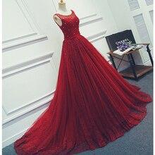 Robe Soiree Scoop Neck Sleeveless Eine Linie Abendkleider Luxus Burgunder Tüll Spitze Abendkleid Mit Perle Importierte Kleid