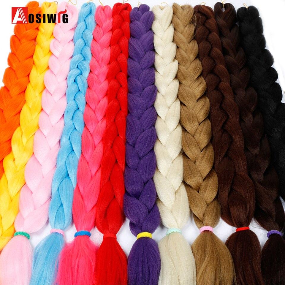 Sintético Jumbo trenzado extensiones de cabello para las mujeres 165g/paquete Kanekalon Azul Rojo ganchillo falso cabello trenzado AOSIWIG