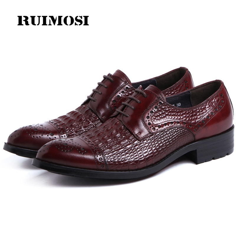 RUIMOSI Vintage Man Cap Top Formal Dress Shoes Famous Genuine Leather Crocodile Brogue Oxfords Luxury Round Toe Men's Flats AD55