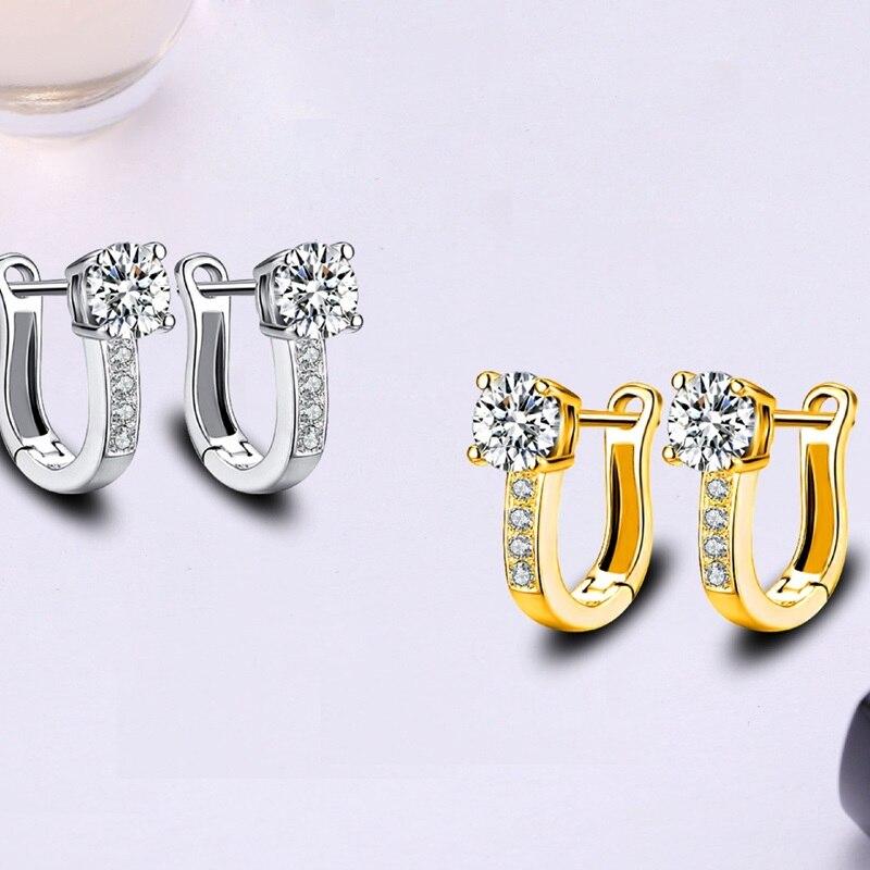 OMHXZJ Wholesale Personality Fashion OL Woman Girl Wedding White Gold U Shape Zircon 18KT Gold White Gold Hoop Earrings YE439 in Earrings from Jewelry Accessories