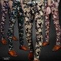 Tamaño 28-36 de Moda de Corea Delgado Afluencia Estilo Chino Impresión de Camuflaje Pantalones Ocasionales de Los Hombres Flaco Lápiz Elástico Apretado pantalones