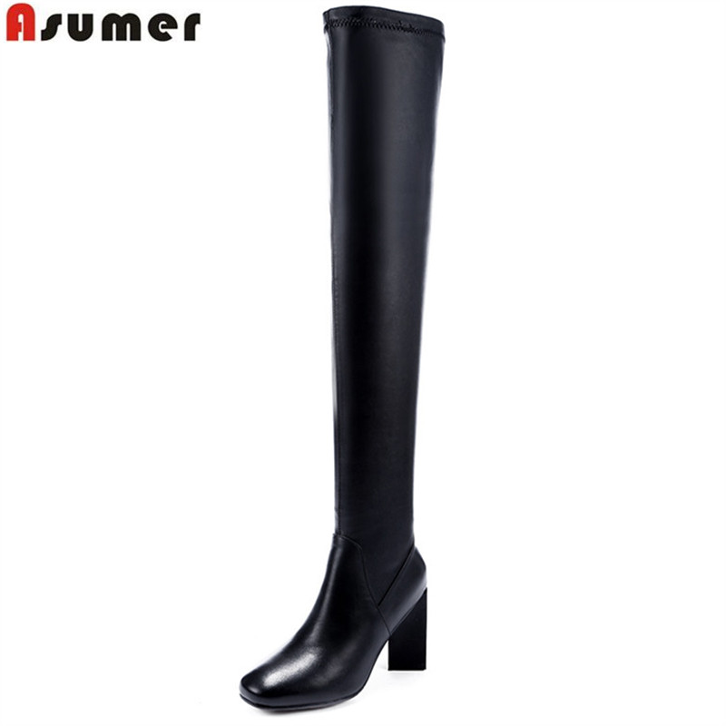 ASUMER 2018 hot sale new arrive women boots fashion square toe high quality pu+genuine leather ladies black over the knee boots asumer 2018 hot sale new arrive women boots round toe black white pink ladies boots keep warm winter knee high boots
