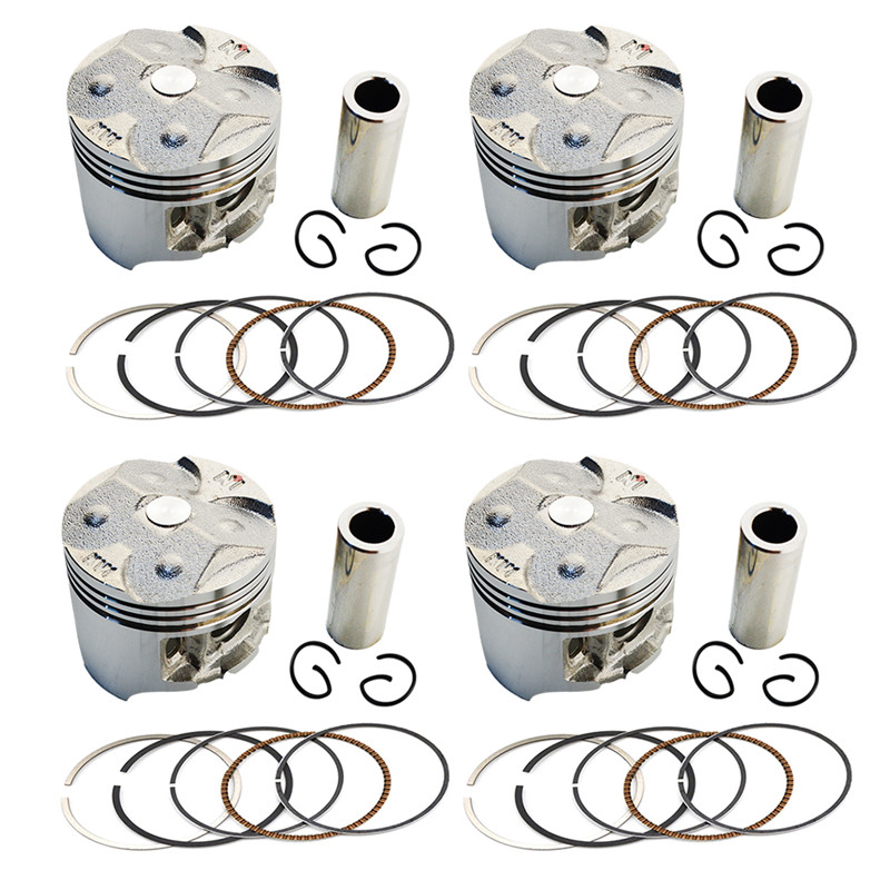 ФОТО 4Sets Motorcycle Pistons Rings Clips Pin Kit Oversize Bore +75 49.25mm For Honda CBR250 MC19 KY1