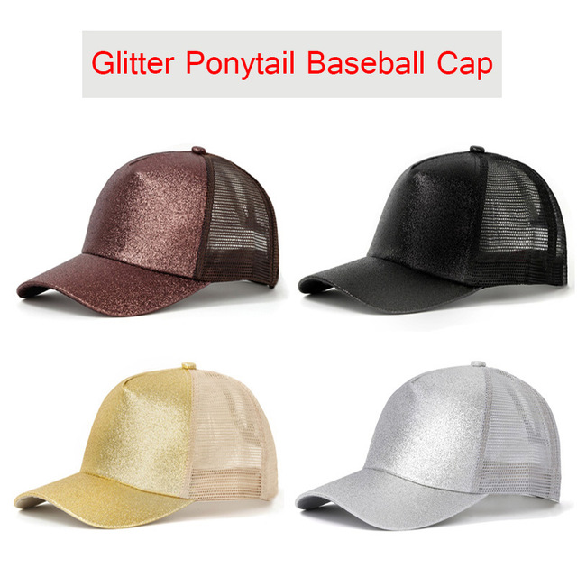 Glitter Ponytail Baseball Cap 2019 Summer Women Adjustable Messy Bun Caps Black Hat Girls Casual Cotton Snapback Mesh Hats