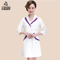 White Lab Coat for Women Half Sleeve Beauty Salon Beautician Uniforms Medical Hospital Nursing Work Wear Overalls Gowns Outfits