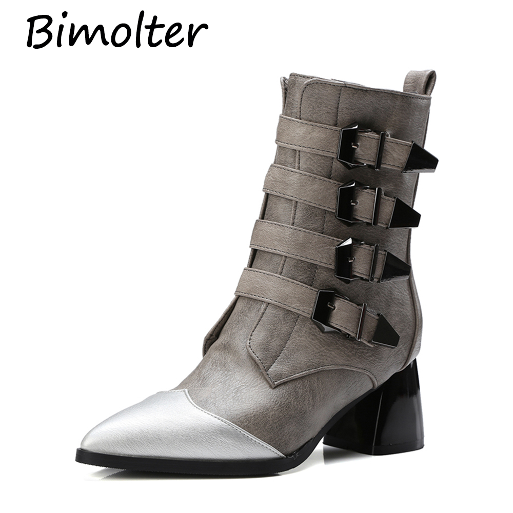 Bimolter Ladies Sexy Pointed Toe High Heel Chelsea Boots Women Winter Warm Mid-Calf Bukle Strap Punk Riding Boots Shoes PAEA044Bimolter Ladies Sexy Pointed Toe High Heel Chelsea Boots Women Winter Warm Mid-Calf Bukle Strap Punk Riding Boots Shoes PAEA044