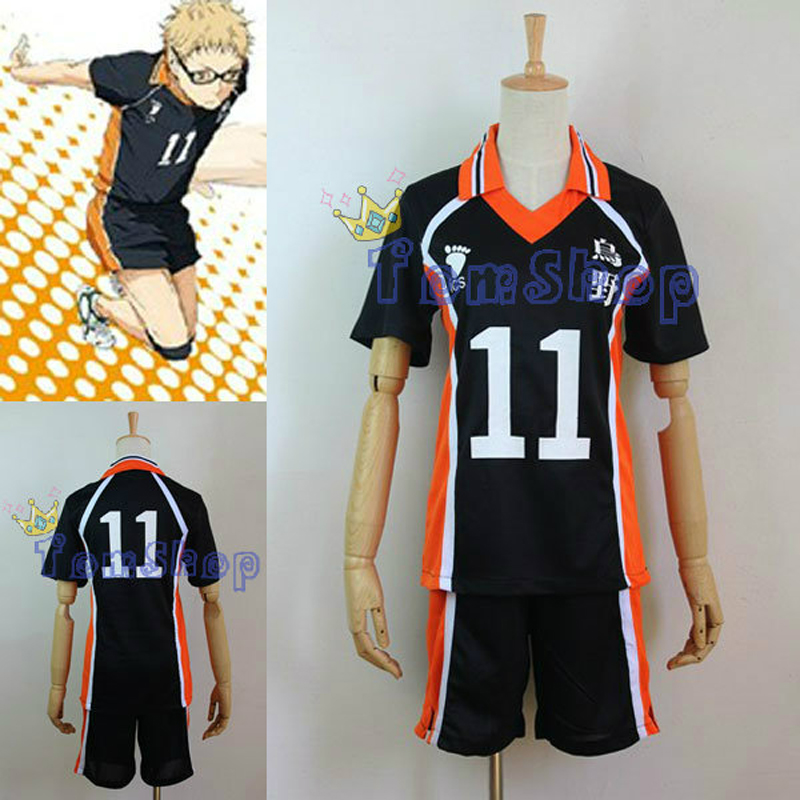 Anime Haikyuu!! Karasuno High School #11 Tsukishima Kei Volleyball Club Jersey Cosplay Costume Sports Wear Uniform M L XL XXL