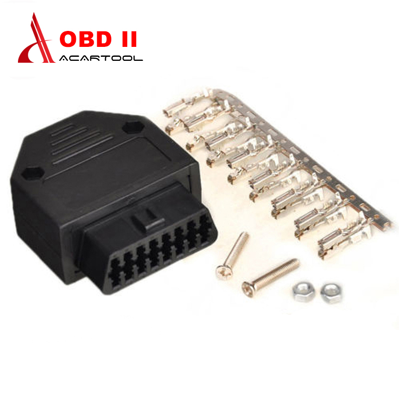 OBD2 16 Pin Cable Connector Female OBD Connector Plug+Shell+Terminal+Screw Diagnostic Tool Car Accessories Black