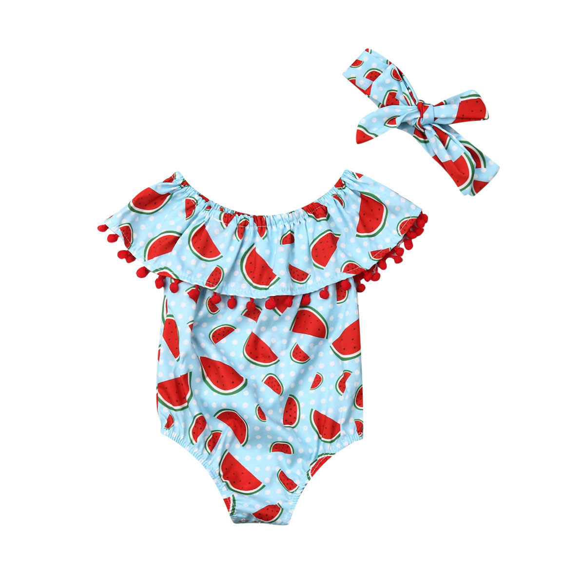 Emmababy Newborn Baby Girl Clothes Off Shoulder Watermelon Print Ruffle Tassel Romper Jumpsuit Headband 2Pcs Outfits Clothes