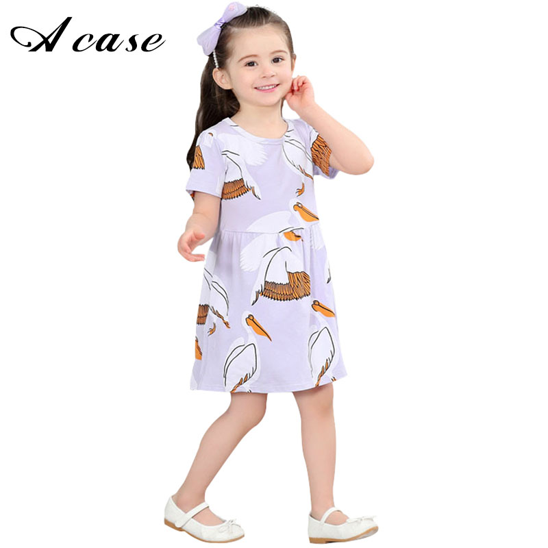 Little Girls Dress 2018 Summer Kids Print Animal Clothes Short Sleeve Crowned Pattern Casual Children New Style Clothing Dresses jessica simpson little girls kenzie graphic with pleather sleeve