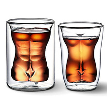 Fetoo Sexy Lady Men Durable Double Wall Whiskey Glasses Wine Shot Glass Beer Cup