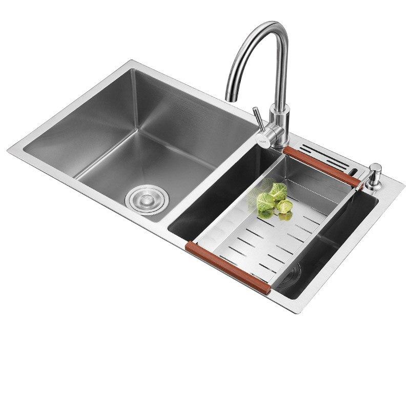 304 in acciaio inox a doppia scanalatura lavello della cucina ispessimento multi-funzione manualmente bacini lavandino pasto con rubinetto lavello304 in acciaio inox a doppia scanalatura lavello della cucina ispessimento multi-funzione manualmente bacini lavandino pasto con rubinetto lavello