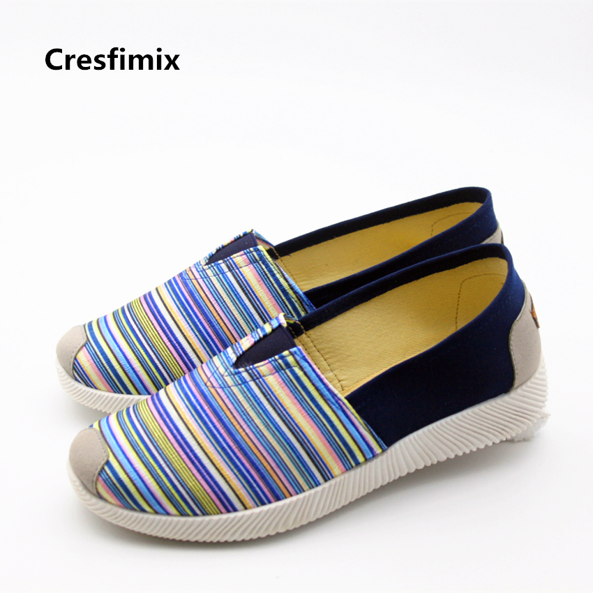 Cresfimix women casual blue striped summer slip on flat shoes lady cute round toe canvas plus size shoes female cute cool shoes new arrival shallow mouth round toe women flat shoes sweet lady girls bowtie metal slip on shoes cute boat shoes plus size 35 41