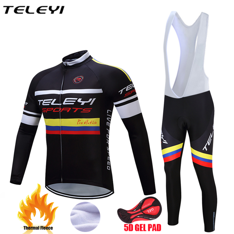 Teleyi 2017 Winter Thermal Fleece Cycling Jersey Set Maillot Ropa Ciclismo MTB Long Sleeve Keep Warm Bike Wear Bicycle Clothing teleyi team cycling outfits mens ropa ciclismo long sleeve jersey bib pants kits bicycle jacket trousers set red black