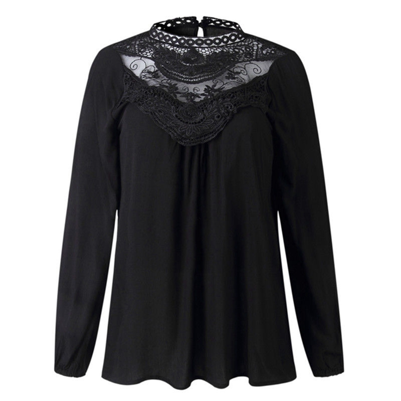 802c3fc8b1d US $10.77 23% OFF|Aliexpress.com : Buy Fashion Women Summer Loose Casual  Chiffon Long Sleeve Lace Shirt Tops Blouse from Reliable Blouses & Shirts  ...