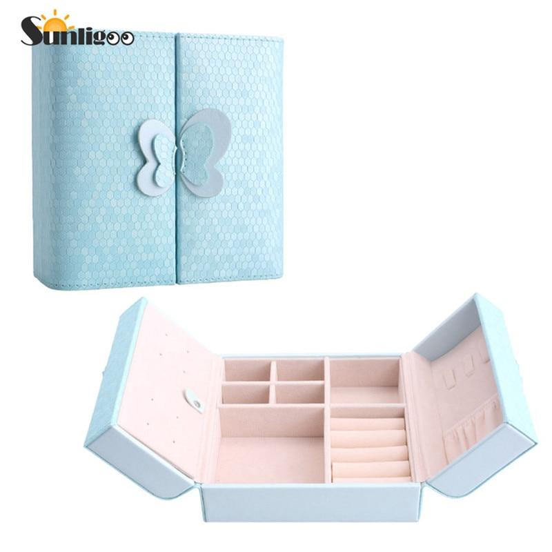 Sunligoo Hot 1pc Vintage Small Jewelry Box Organizer Makeup Organizer Case Leather Magnetic Lock Rings Earrings Organizer Casket