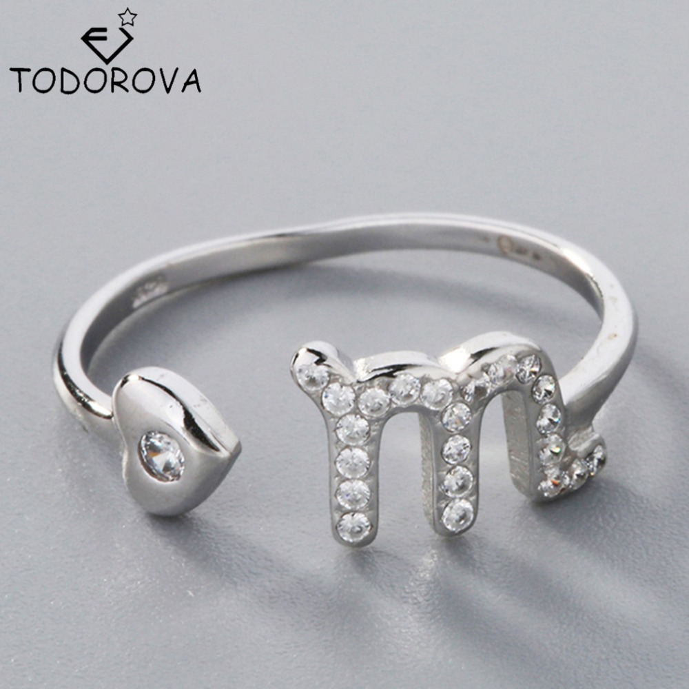 Todorova Adjustable Open Ring Jewelry 12 Zodiac Star Signs Horoscope Constellation Scorpio 925 Sterling Silver Rings for Women