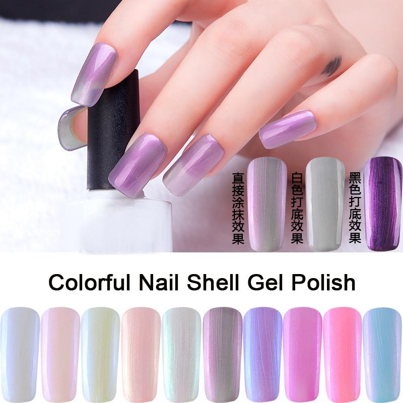 New bright perle gel arc,en,shell gel vernis à ongles couleur bulle shell