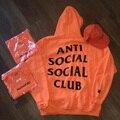 2016 inverno anti social club hoodies dos homens das mulheres de alta qualidade roupas de marca palácio thrasher camisolas de treino orange