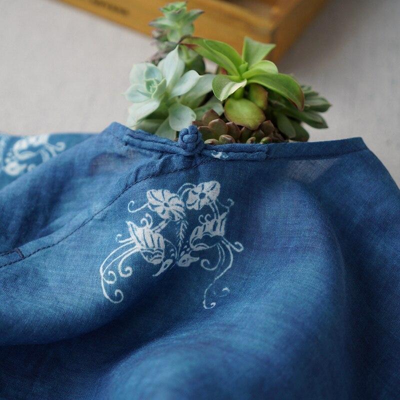 Kadın Giyim'ten Bluzlar ve Gömlekler'de Yaz Kadın Rahat Gevşek Artı Boyutu Vintage Çin Tarzı Düğmeler Baskı Rahat Temel Ince Rami Kazak Gömlek/Bluzlar'da  Grup 2