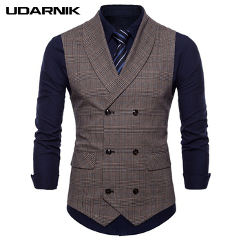 Men Formal Business Vest Plaid Turn-down Collar Slim Waistcoat Party Meeting Sleeveless Jacket Coat Gilet Grey Coffee 223-344