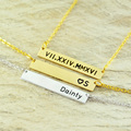 Personalized Alloy Jewelry Roman Numeral Necklace / Personalized Bar Necklace Initial Necklace