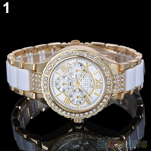 Women's Fashion Roman Numerals Rhinestone Alloy Analog Quartz Dress Wrist Watch 6JLY