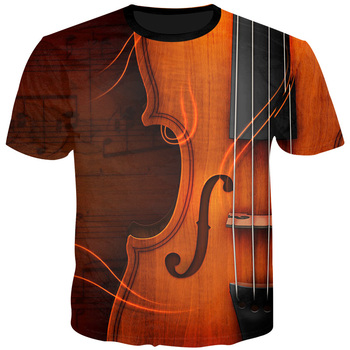Cloudstyle New Design Gorgeous Notes Men T Shirts Summer Violin Casual Spandex Plus Size S-5XL