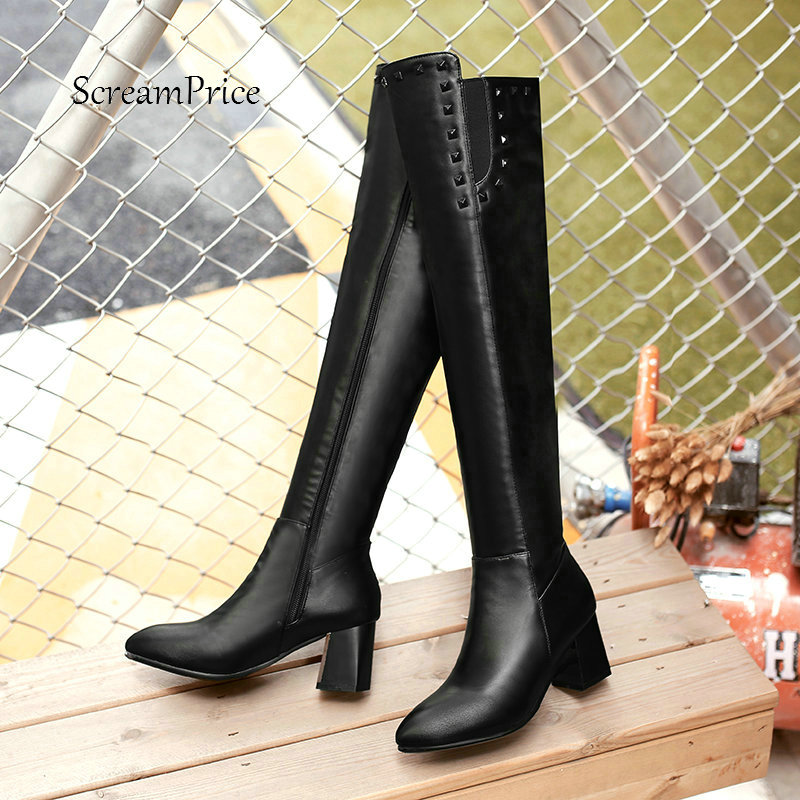 Winter Comfortable Square Heel Side Zipper Over The Knee Boots Fashion Rivet Pointed Toe Thigh Boots Black