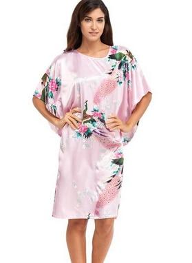 Pink Female Silk Rayon Robe Nightshirt Summer Bathrobe Gown Sleepwear Flower Home Dress Peacock Plus Size 6XL A-074