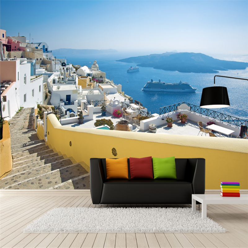 3D Wall Paper Customized Greece Aegean Sea Castle Mural Background Wall Eco-Friendly Fiber Decor Non-Woven Wall Paper Roll beibehang lovely abc print kid bedding room wallpapers ecofriendly fantasy non woven wall paper children mural wallpaper roll