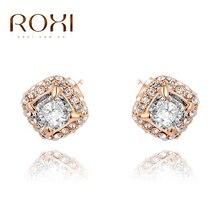 ROXI Free Shipping Vacation luxury Earrings,rose gold glated CZ Jewelry 2 carat 100% handmade fashion jewelry,2020026590