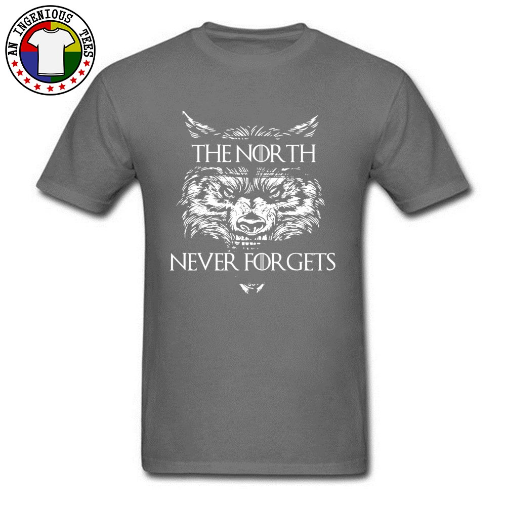 Men T Shirts The-North-Never-Forgets Printing Tops T Shirt Cotton Fabric Round Collar Short Sleeve Slim Fit Tshirts Autumn The-North-Never-Forgets carbon