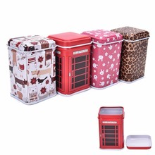 Metal Candy Trinket Tin Jewelry Iron Tea Coin Storage Square Box Case 4 style leopard rabbit cartoon Telephone booth(China)