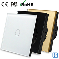 Free Ship EU Standard 1 Gang 2 Way Glass Switch Light Switch Touch With Backlight Indicator
