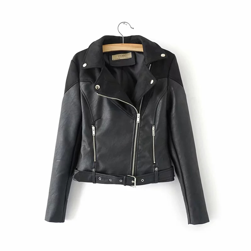 women   suede   jackets for office ladies fashion PU   leather   coats feminine spring-autumn chic girls cool moto-bikers black outfit