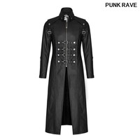 Punk Skull Decoration Winter Cross Trench Gothic Rock Unique Fashionable Heavy PU Leather Parka Coats Jackets PUNK RAVE Y 809