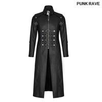 Punk Skull Decoration Winter Cross Trench Gothic Rock Unique Fashionable Heavy PU Leather Parka Coats Jackets PUNK RAVE Y 809