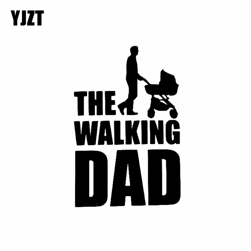 YJZT 9.9CM*15CM The Walking Dad Fun Sticker Vinyl Decal Baby On Board Black/Silver C10-00535