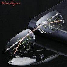 8ea0937978982 Óculos Sem Aro WEARKAPER zoom Inteligente de Titânio Homens Mulheres  Presbiopia Hipermetropia Multifocal Progressiva Óculos De