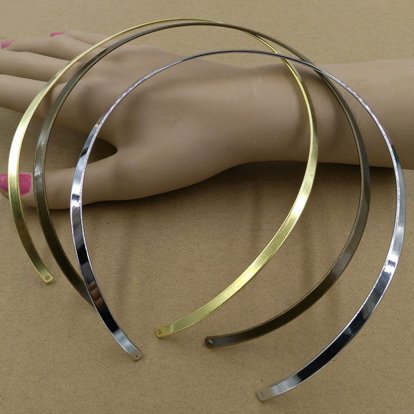 Wire Choker Collar Circle Open Necklaces with 2 Holes DIY Findings Brass Metal European Charms Accessories Multi-color Plated circle