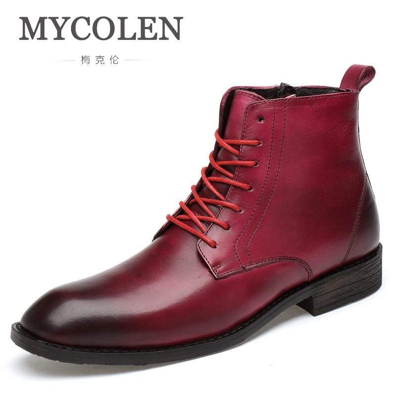 MYCOLEN Men Shoes 2018 British Vintage Classic Genuine High Quality Martin Boots Thick Heel Motorcycle Men Boots Botas Hombre