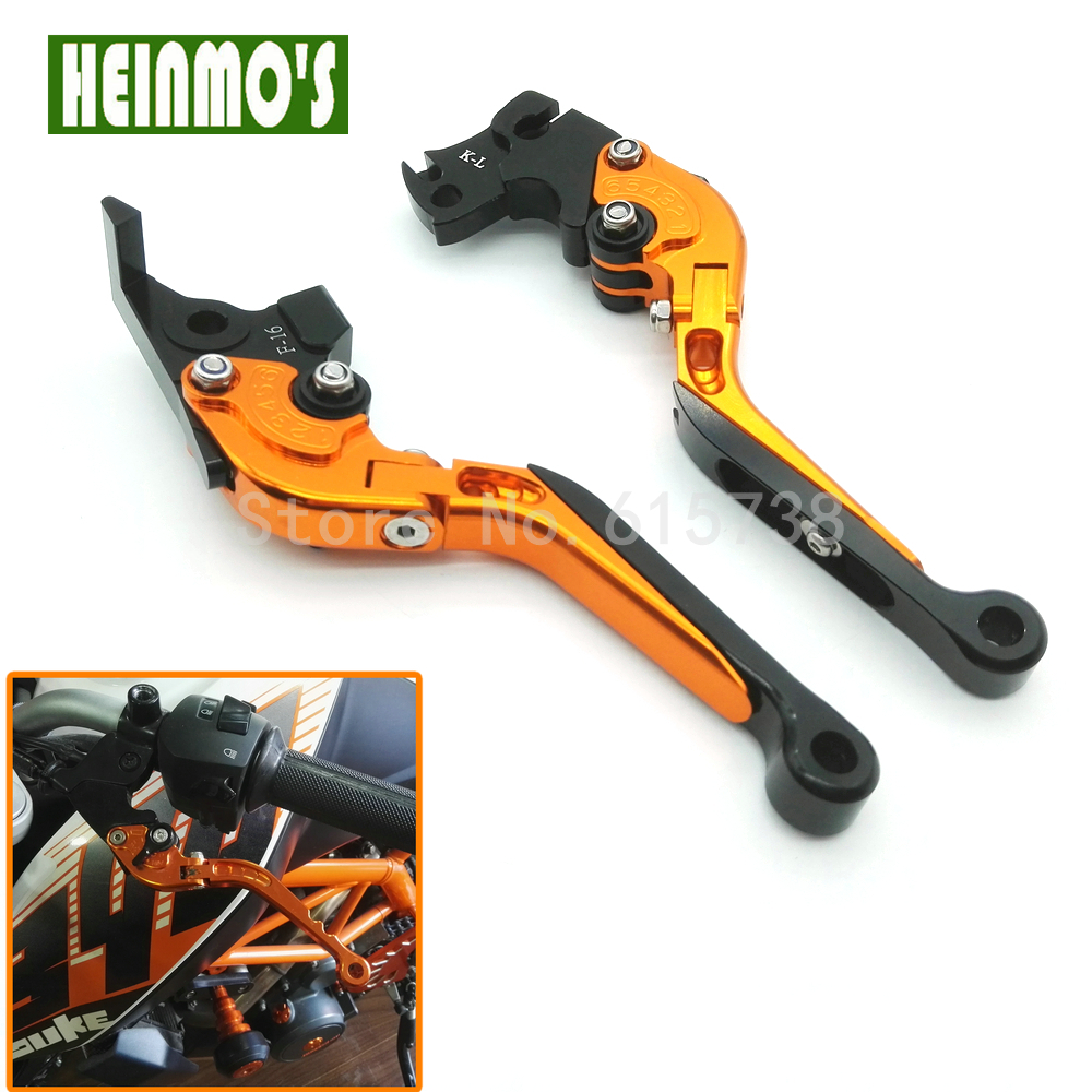 New Orange Motorcycle CNC Adjustable Foldable Lengthening Motorbike Brakes Clutch Levers For KTM Duke 125 Duke 200 Duke 390 top new cnc motorcycle brakes clutch levers for honda cbr 600rr 1000rr fireblade sp 2007 2015 accessories free shipping