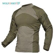 WOLFONROAD мужские армейские зеленые тактические Футболки с длинным рукавом, камуфляжная походная футболка, осенняя одежда для охоты и пейнтбола