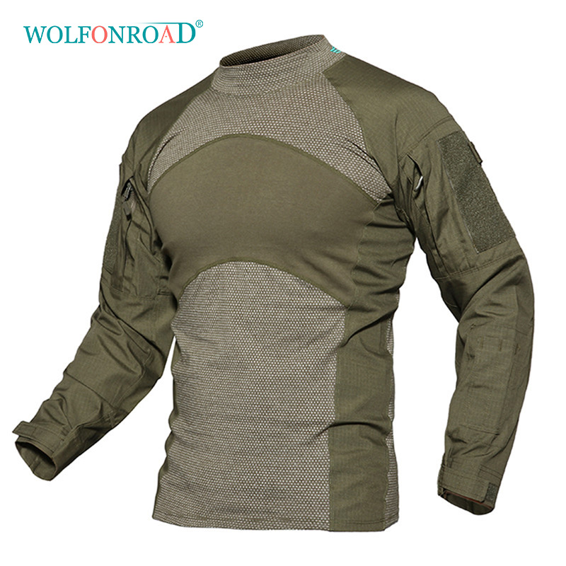 WOLFONROAD Men Army Green Rip-stop Tactical T Shirts Long Sleeve Camouflage Hiking T-Shirt Autumn Hunting Paintball Clothing grid hollow design t shirts in army green
