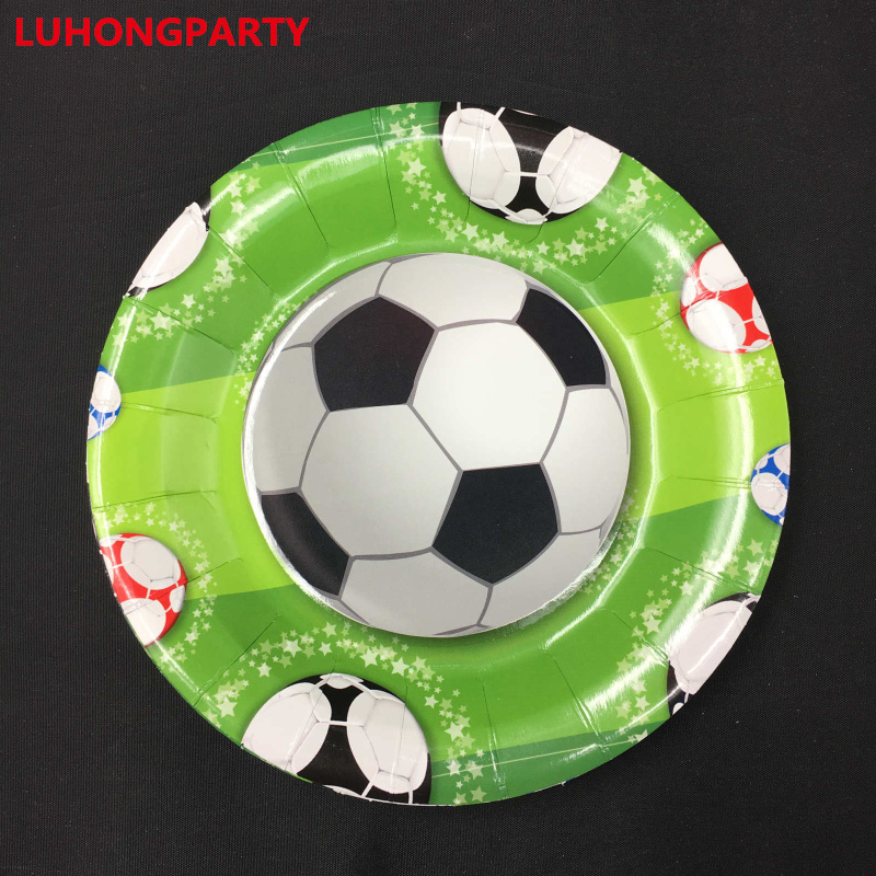 10pcs 7inch=18cm Football Happy Birthday Paper Plate dishes tableware for Party Decoration LUHONGPARTY