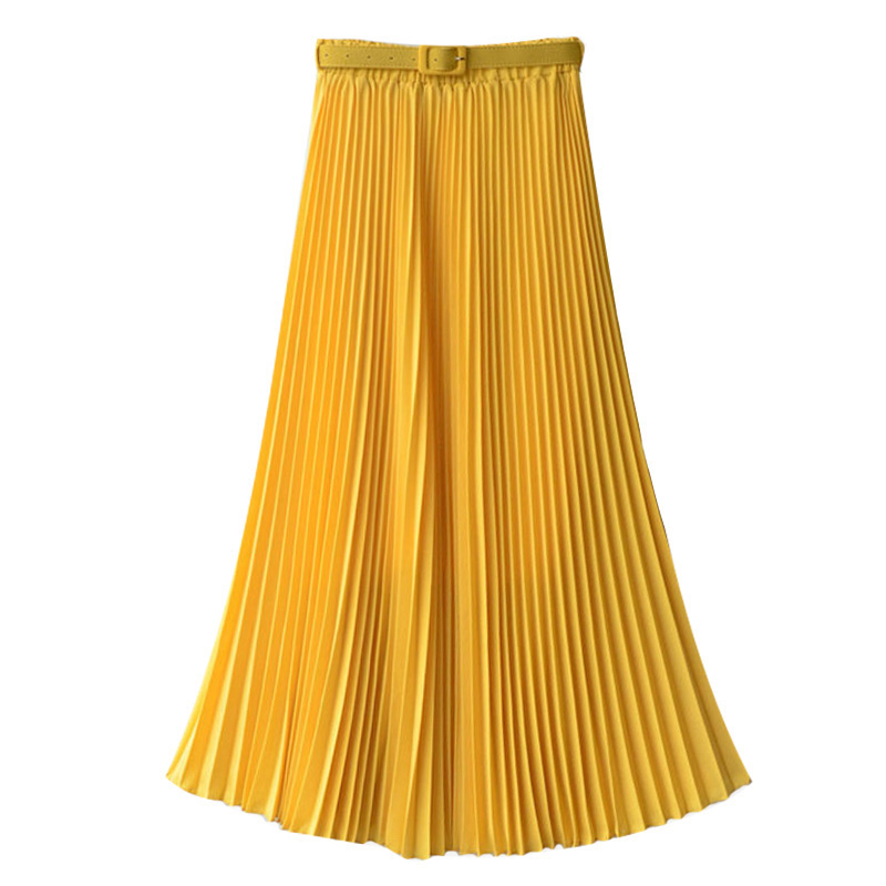 Long Pleated Skirts Womens Chiffon Elastic Waist Summer All Match Solid Tulle Maxi Skirt With Belt Faldas Khaki Black Pink
