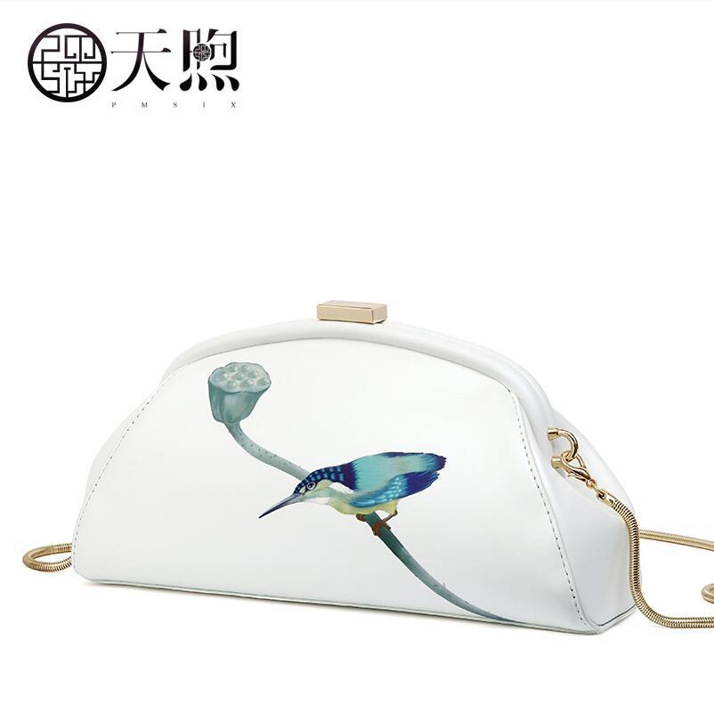 Pmsix2018 new high-quality fashion luxury brand original leather clutch bag shoulder Messenger cheongsam bag counter genuine, wo