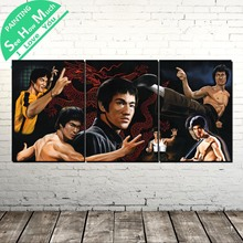 лучшая цена 3 Piece Bruce Lee Kung Fu Super star Modern Wall Pictures for Bedroom Print Canvas Painting  Living Room Home Decoration