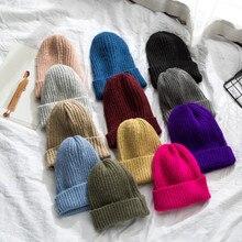 Женские шапки, милые шапки, одноцветные, Осень-зима, вязанные крючком шапки для девочек, головные уборы, шапки фиолетовые, красные, желтые, зеленые, Вязаная шапка